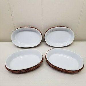 4 Mini Casserole Dishes Baskets White Brown